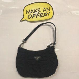 Prada Ruffle Accent Leather Strap Wristlet Handbag